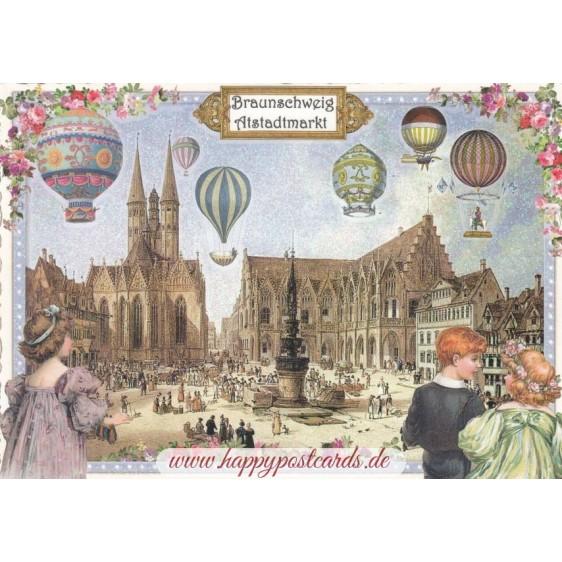 Braunschweig - Market place - Tausendschön - Postcard