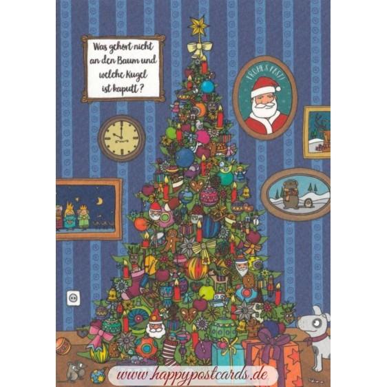 Was gehört nicht an den Baum und welche Kugel ist kaputt? - Christmas Postcard