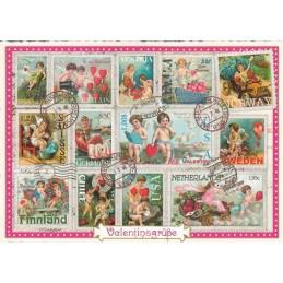 Valentinsgruesse - stamps - Tausendschön - Postcard