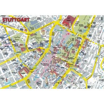 VIEWCARDS Maps Stuttgart Map Postcard Fotoverlag Huber