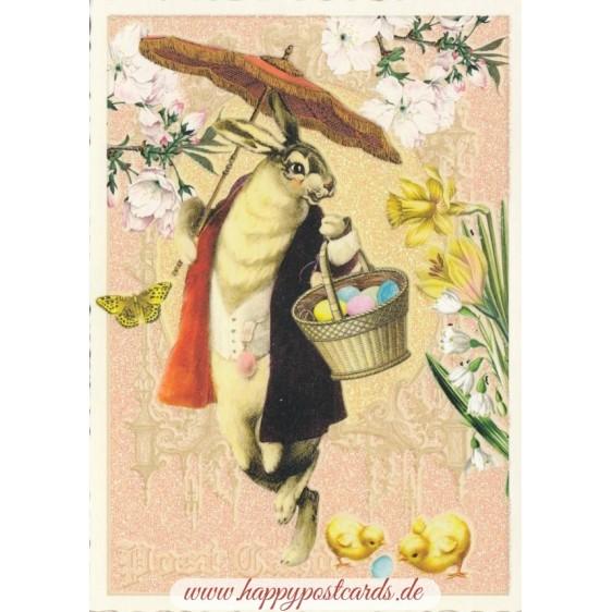 Easterbunny with umbrella - Tausendschön - Postcard