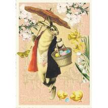Easterbunny with umbrella - Tausendschön - Postcard