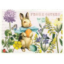 Frohe Ostern - Easterbunny and flowers - Tausendschön - Postcard