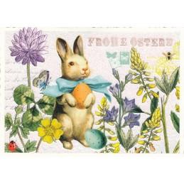 Frohe Ostern - Osterhase und Blumen - Tausendschön - Osterkarte