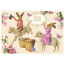 Frohe Ostern - Bunnies on Lambs - Tausendschön - Postcard