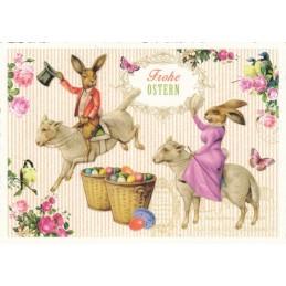 Frohe Ostern - Hasen auf Lämmchen - Tausendschön - Osterkarte