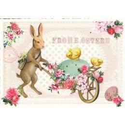 Frohe Ostern - Hase mit Schubkarre - Tausendschön - Osterkarte