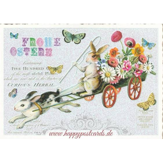 Frohe Ostern - Bunny on carriage - Tausendschön - Postcard