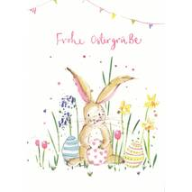 Frohe Ostergrüße - Bunny with eastereggs - Easter - Postcard