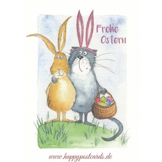 Frohe Ostergrüße - Hasen mit Korb voller Ostereier - Osterkarte