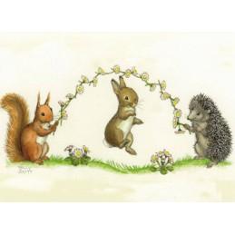 Tiere mit Springseil - Postkarte