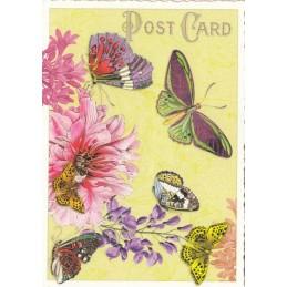Schmetterlinge mit Blüten - Tausendschön - Postkarte