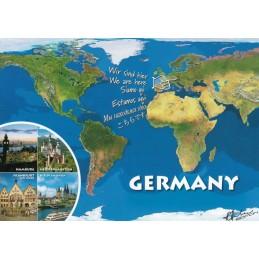Deutschland - Weltkarte - Ansichtskarte
