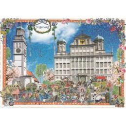 Augsburg - Market - Tausendschön - Postcard