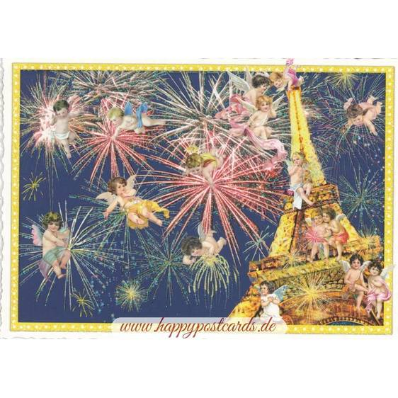 Paris - Eiffel Tower with firework - Tausendschön Postcard