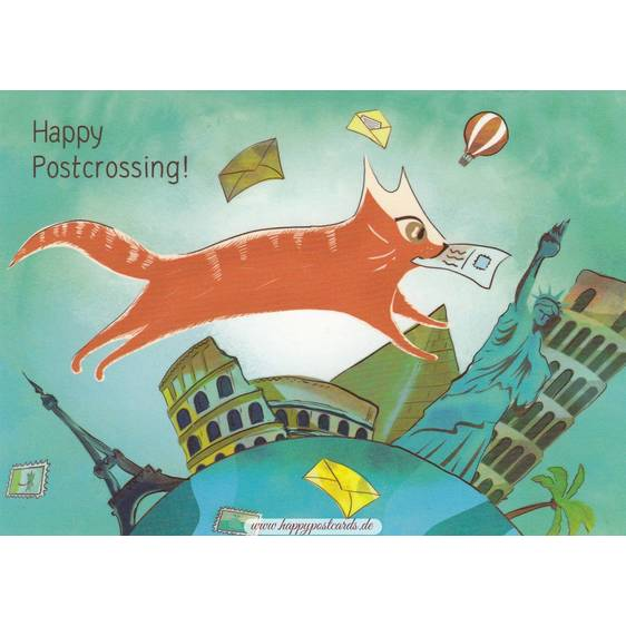 Happy Postcrossing - Um die Welt - Postkarte