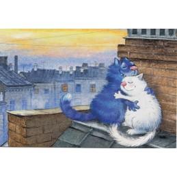 Über den Dächern - Blaue Katzen - Postkarte