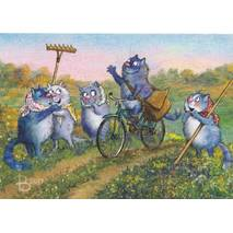 Mailman on the road - Blue Cats - Postcard