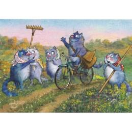 Postbote unterwegs - Blaue Katzen - Postkarte