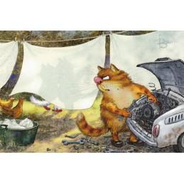 Hinterm Bettlaken - Blaue Katzen - Postkarte