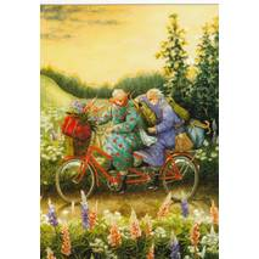 68 - Frauen fahren Tandem - Löök Postkarte