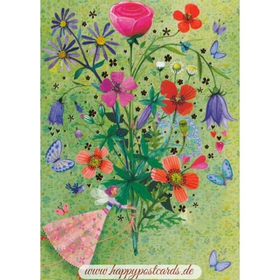 Elfe mit Blumenstrauß - Mila Marquis Postkarte