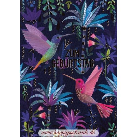 Zum Geburtstag - Hummingbirds - Mila Marquis Postcard