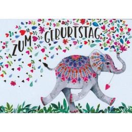 Zum Geburtstag - Elefant - Mila Marquis Postkarte