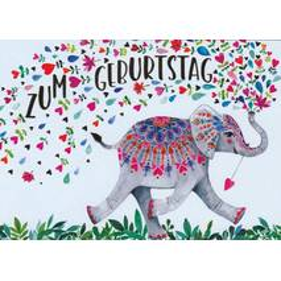 Zum Geburtstag - Elephant - Mila Marquis Postcard