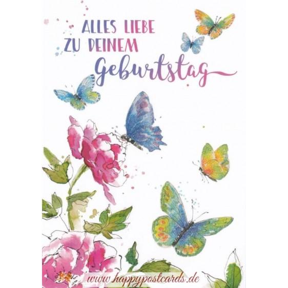 Alles Liebe zum Geburtstag - Butterflies - Carola Pabst Postcard