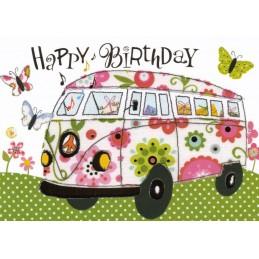 Happy Birthday - VW Bus - Carola Pabst Postcard