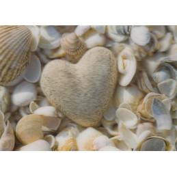 3D Herz und Muscheln - Postkarte