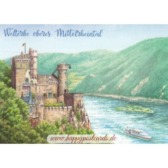 Oberes Mitelrheintal - painted - Viewcard