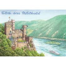 Oberes Mitelrheintal - painted - Viewcard