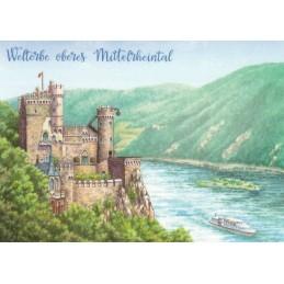 Oberes Mittelrheintal - gemalt - Ansichtskarte