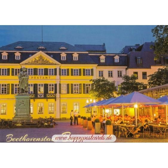 Bonn - Beethovenplatz at night - Viewcard