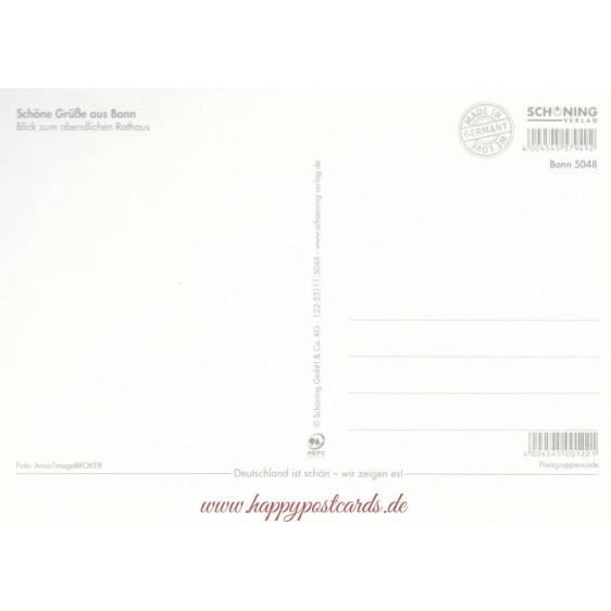 Bonn - Abendliches Rathaus - Ansichtskarte