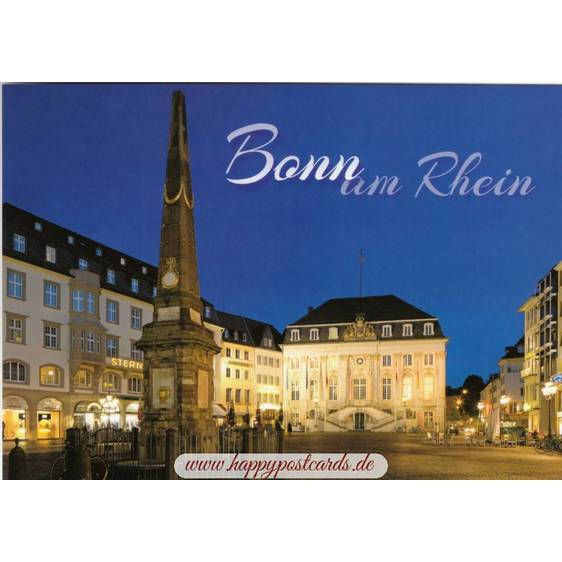 Bonn - Townhall at night - Viewcard