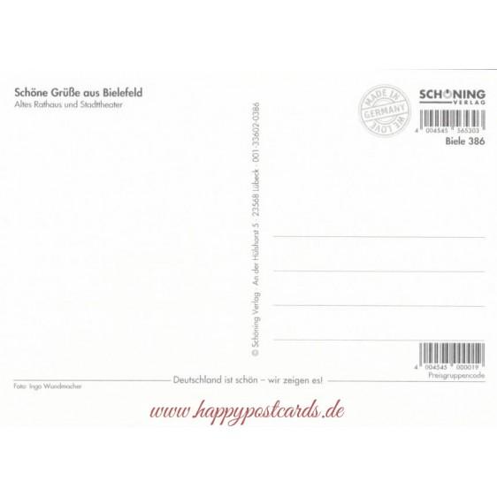 Bielefeld -  Altes Rathaus und Stadttheater - Ansichtskarte