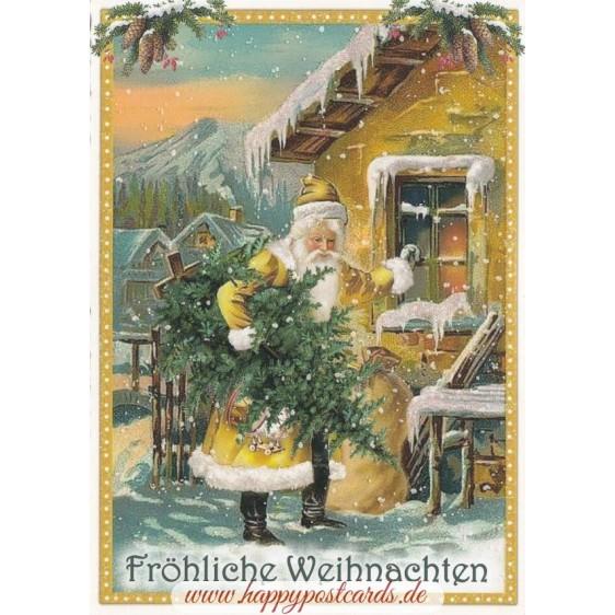 Fröhliche Weihnachten: Santa in front of the house- Tausendschön - Postcard
