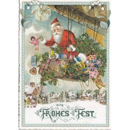 Frohes Fest: Weihnachtsmann mit Geschenken - Tausendschön - Weihnachtskarte