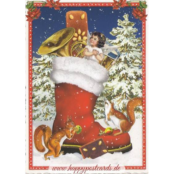 Christmas Stocking - Tausendschön - Postcard