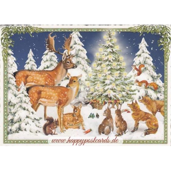 Tiere am Weihnachtsbaum - Tausendschön - Weihnachtskarte