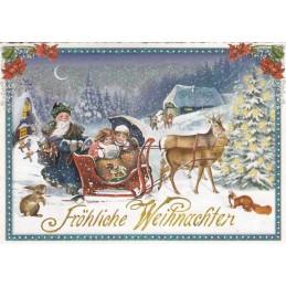Schlittenfahrt - Tausendschön - Weihnachtskarte