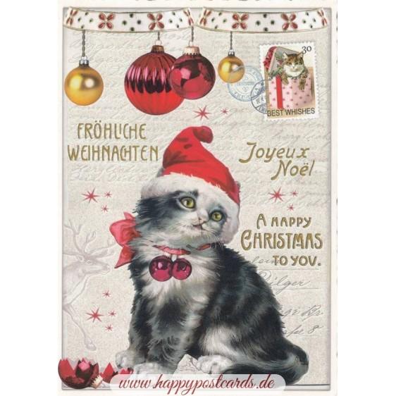 Fröhliche Weihnachten - Katze - Tausendschön - Weihnachtskarte