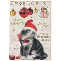 Happy Christmas - Cat - Tausendschön - Postcard