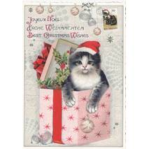 Best Christmas Wishes - Present with Cat - Tausendschön - Postcard