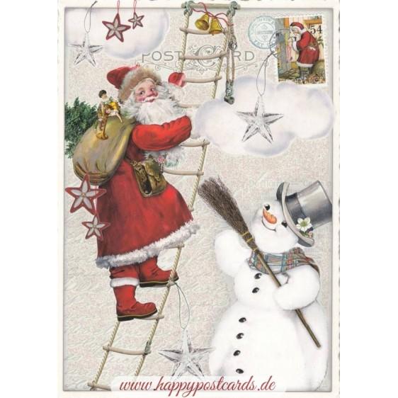 Santa on a ladder - Tausendschön - Postcard