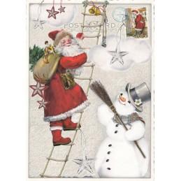 Weihnachtsmann auf der Leiter - Tausendschön - Weihnachtskarte