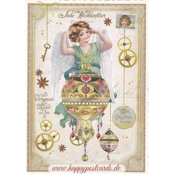 Angel with Christmas bauble - Tausendschön - Postcard